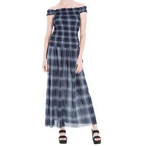 Off-The-Shoulder Plaid Chic Maxi Dress